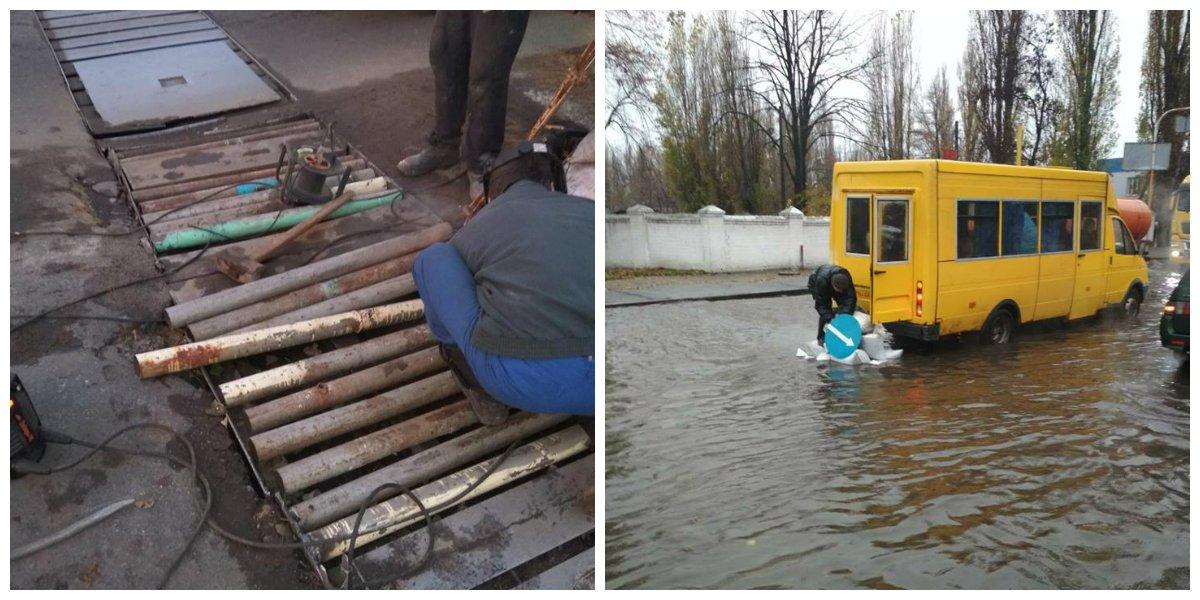 На первом фото - ремонтные работы. На втором - водитель городского рейсового автобуса укладывает в яму мешки с песком
