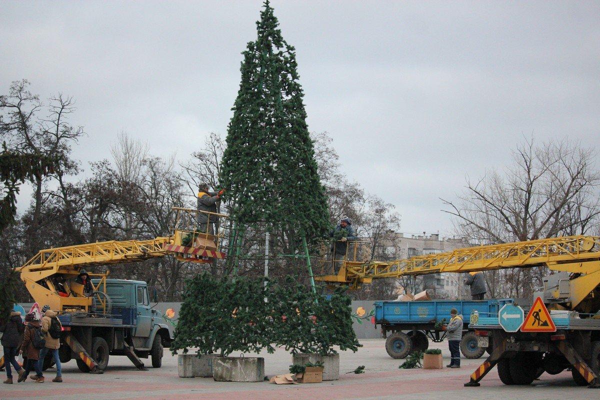 В Никополе установили главную елку