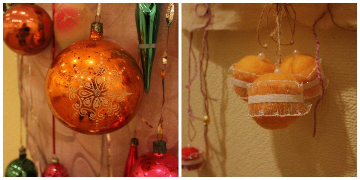 Елочный шар из бабушкиного сундука и современное украшение из фетра