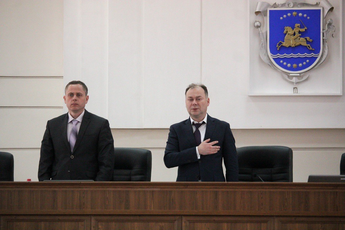 Мэр города Андрей Фисак и его секретарь - Александр Саюк
