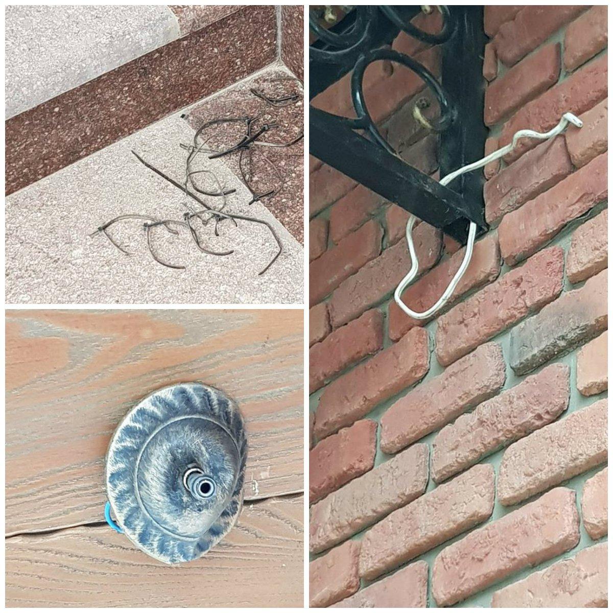 Торчащие провода и согнутый светильник - последствия хулиганства