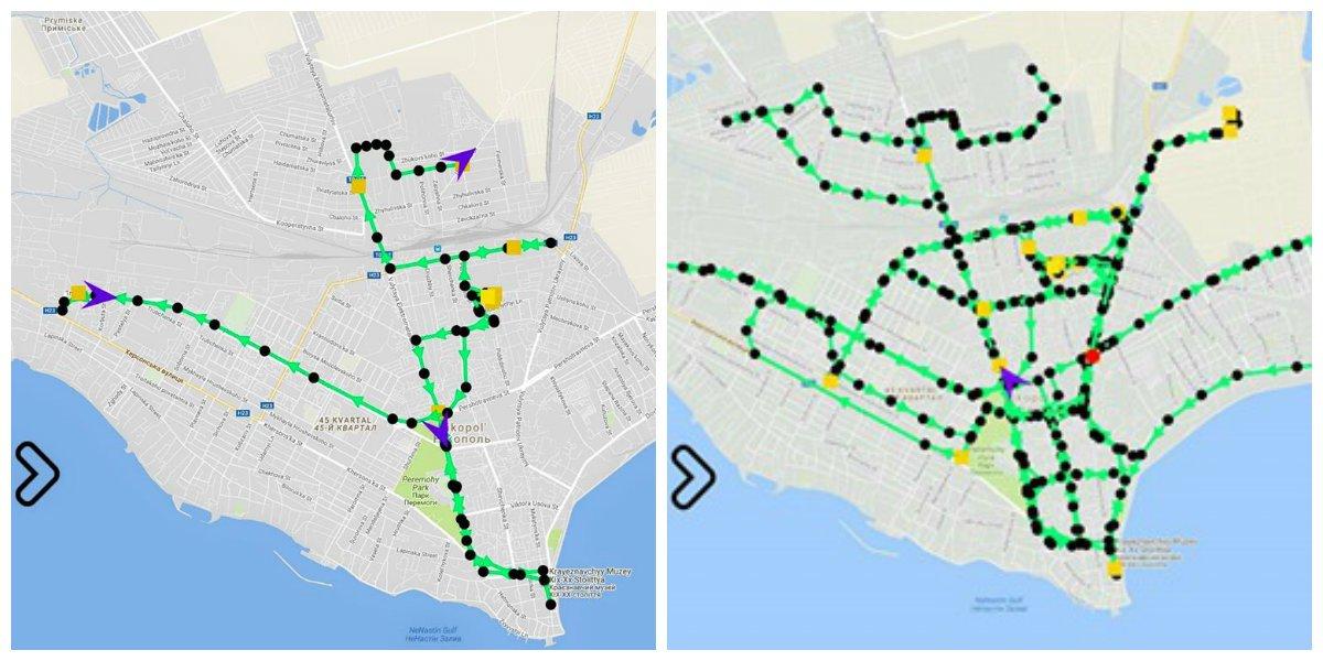 Трек GPS - работа коммунальной техники 21 января в 6:00 и 9:00