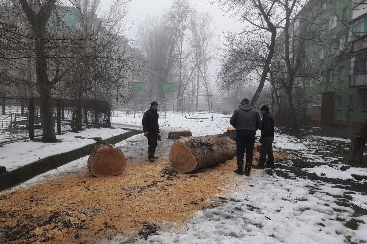 В Никополе убирают аварийные деревья