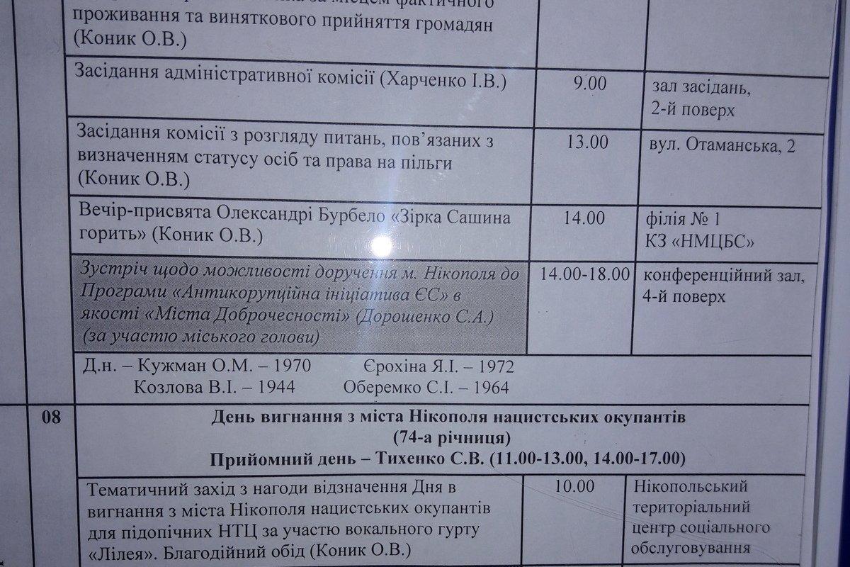План мероприятий на информационной доске