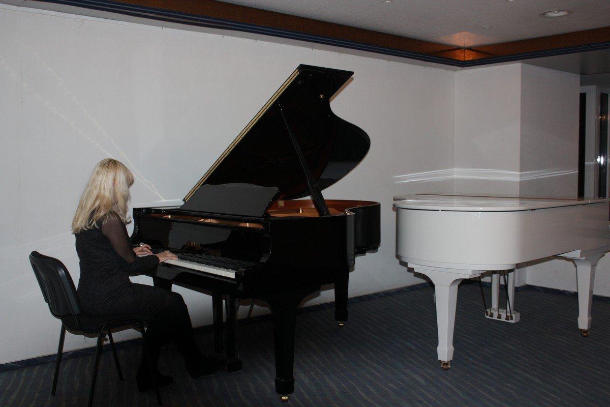 В холле для гостей звучал рояль