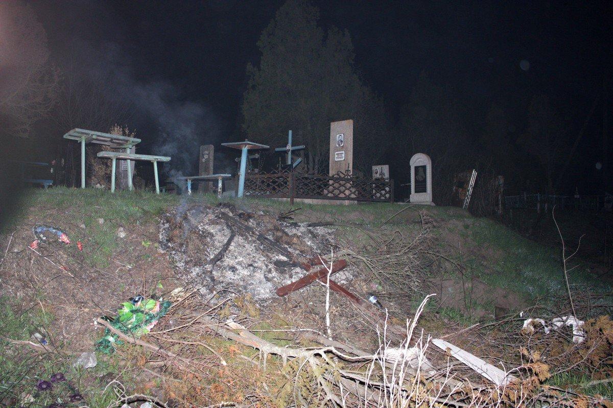 В канун поминального дня случился пожар на городском кладбище Никополя