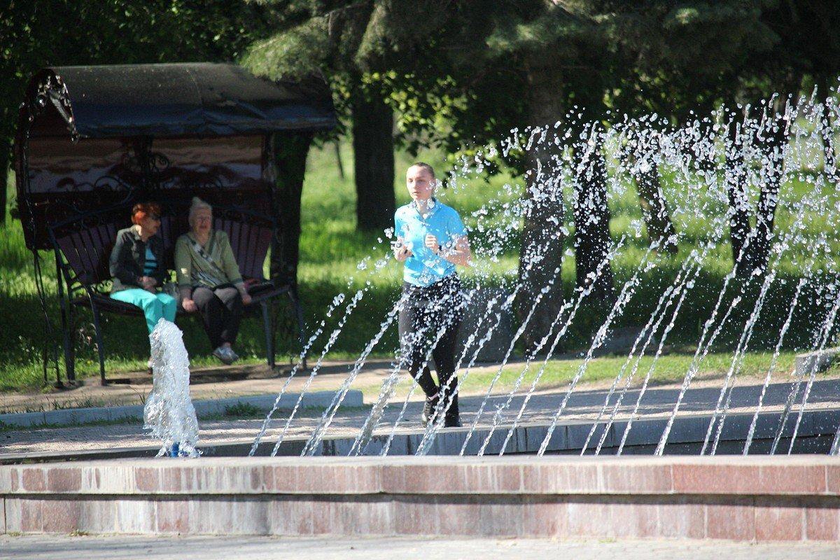 Марафон около фонтана