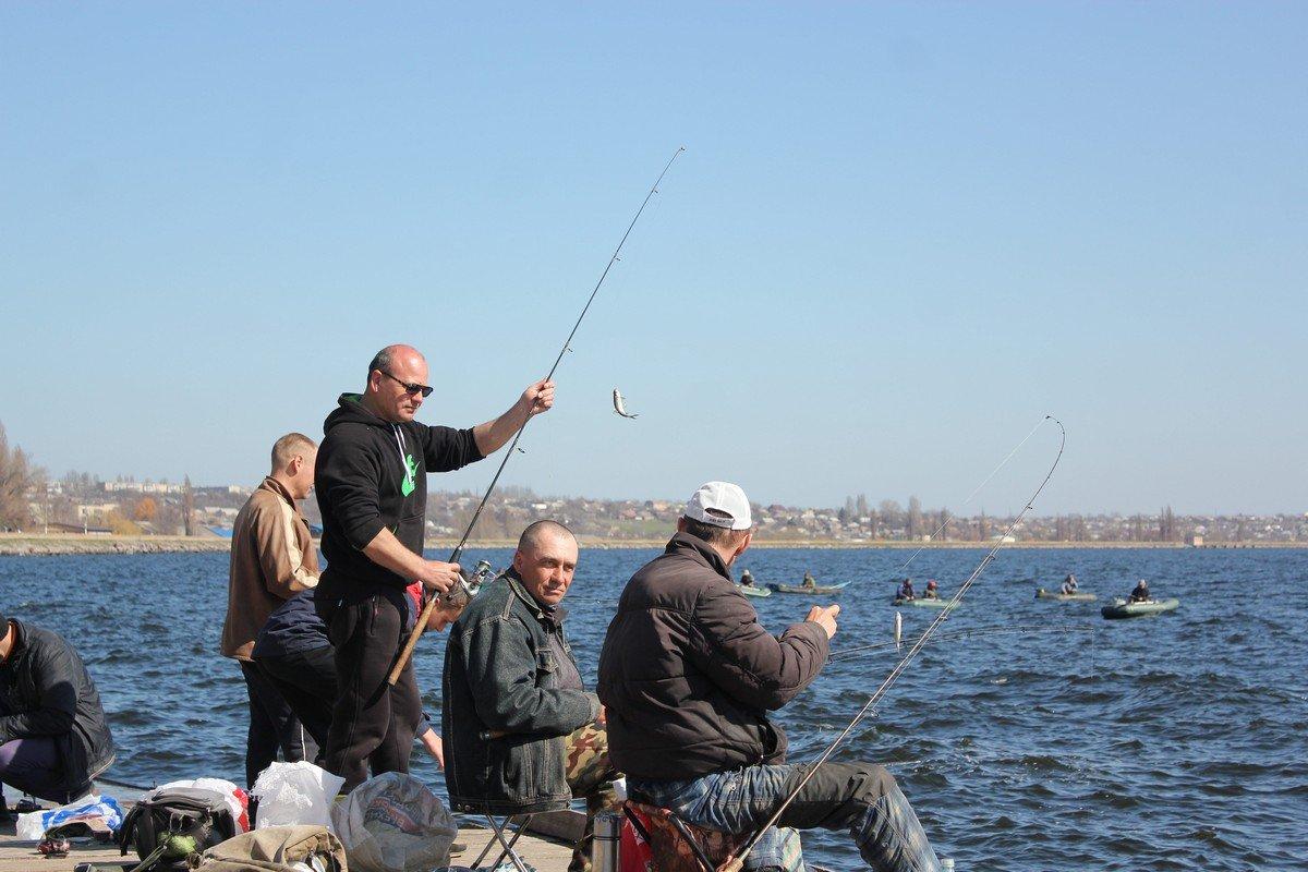 Азартные рыбаки на берегу водохранилища