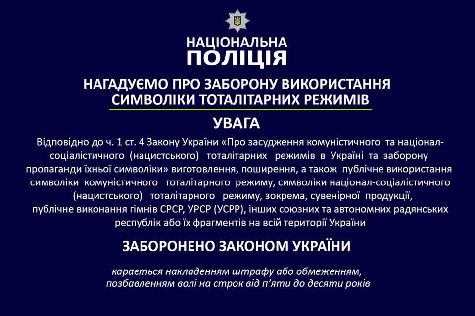 Полиция предупреждает жителей Никополя о запрещенной символике