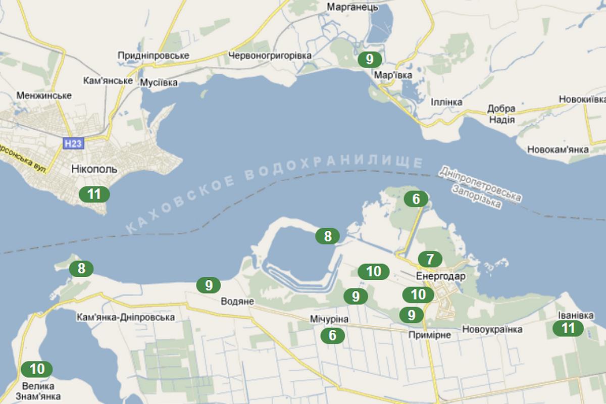 Расположение датчиков системы Кольцо представлены на картах 30-километровой зоны и промплощадки АЭС