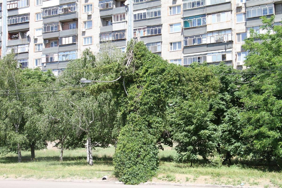 Сломанный фонарный столб на Первомайской