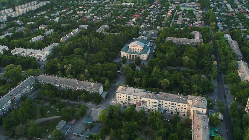 Бывший Дворец культуры Южнотрубного завода с высоты птичьего полёта