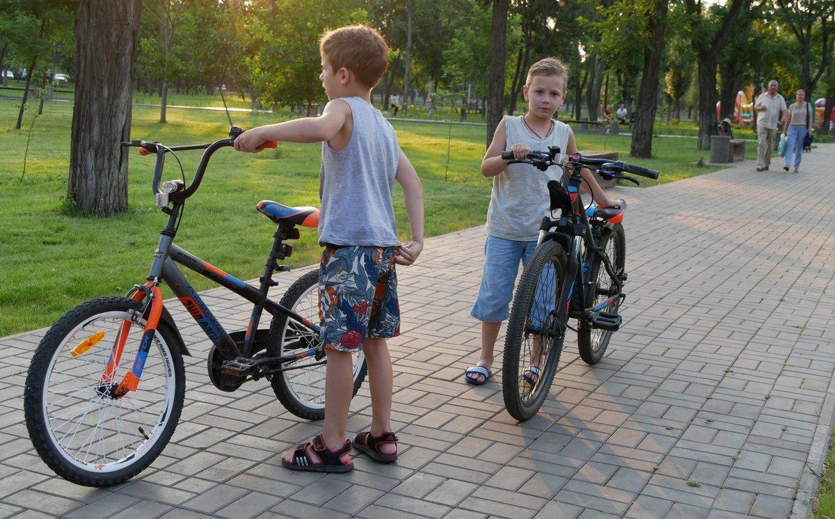 Дети могут безопасно кататься на велосипедах по парковым дорожкам
