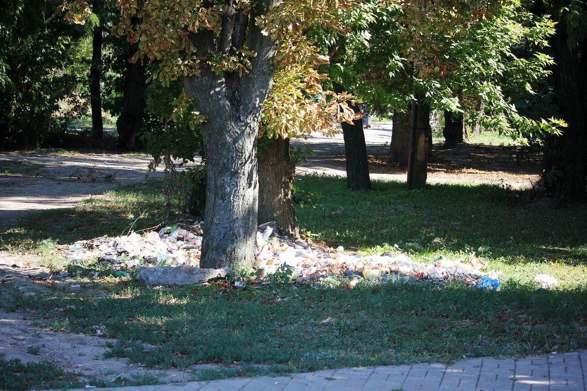 Груда пластиковых бутылок и стаканчиков, вилочек и тарелочек, упаковки от сока и просто фантики валяются под деревом