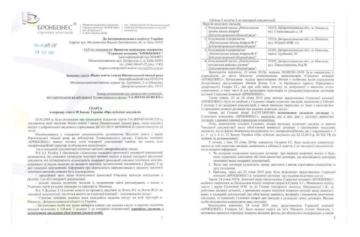 Жалоба в Антимонопольный комитет