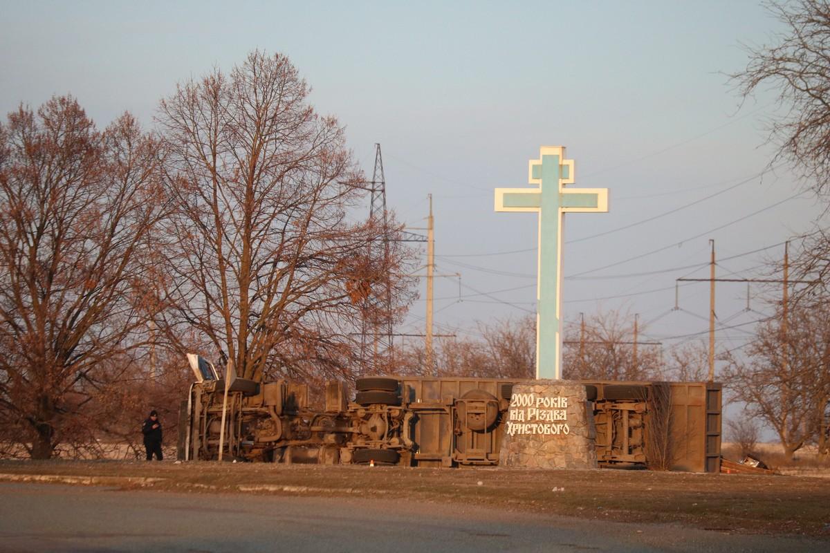 На кольцевой развязке в направлении Днепра произошло ДТП