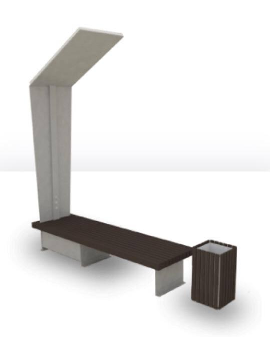 Скамейка на солнечной батарее с возможностью подзарядки гаджетов