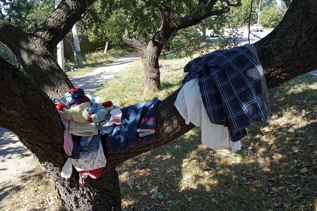 Дерево с одеждой на улице Херсонской