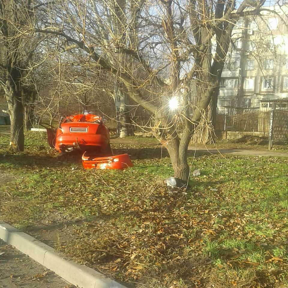 В Никополе на улице Херсонской автомобиль Daewoo Nubira врезался в дерево