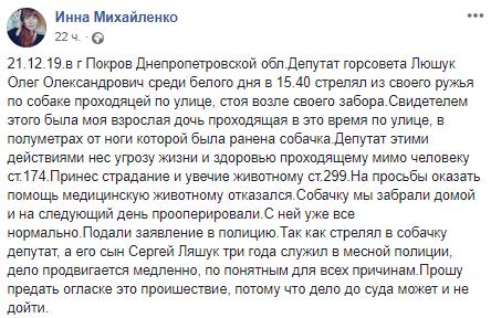 Депутат з Покрова хотів застрелити пса