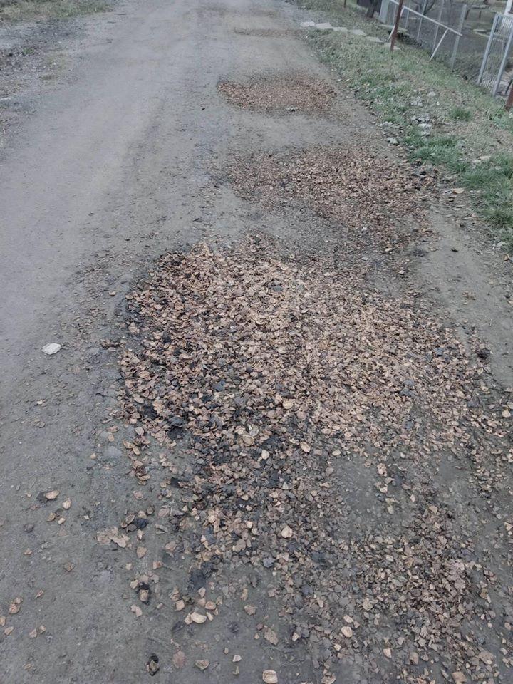 В Марганце ямы на дорогах засыпали ореховой скорлупой