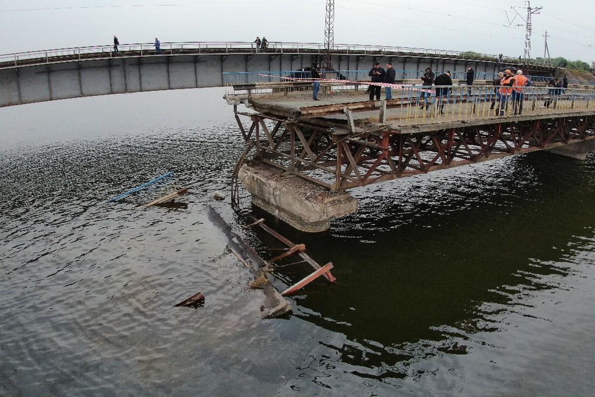 Как выглядит разрушенный мост возле Никополя