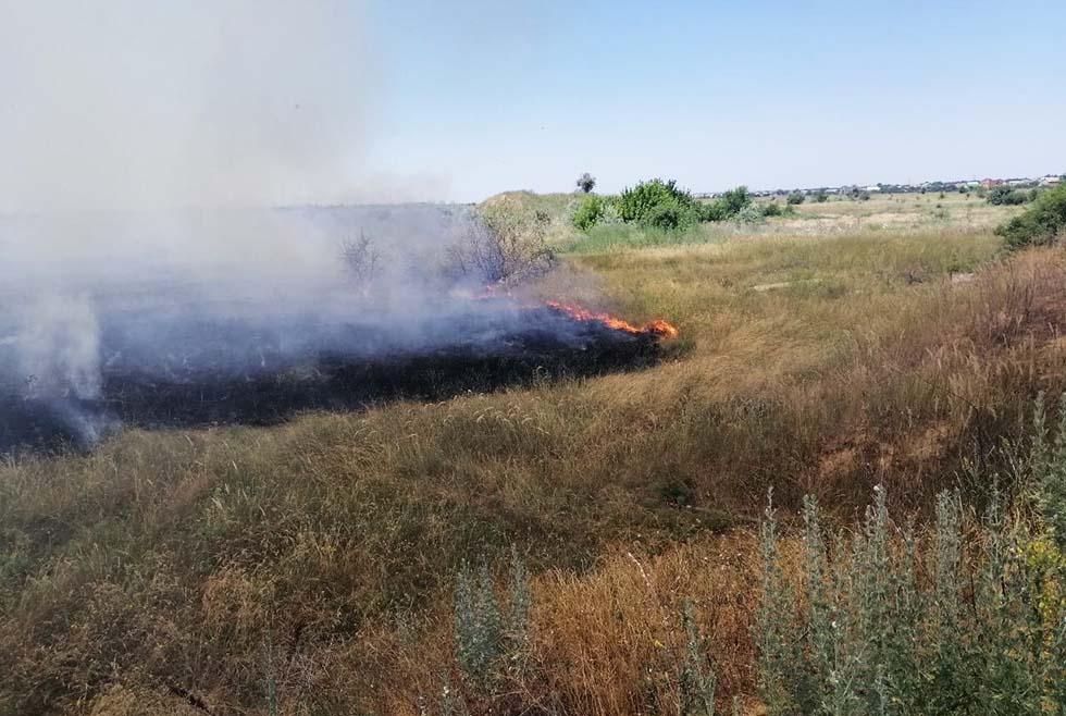 Выгорело 2 гектара травы