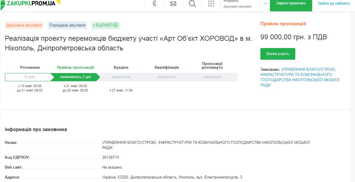 "тендер с сайта ""Прозоро"" Арт – объект «Хоровод»"