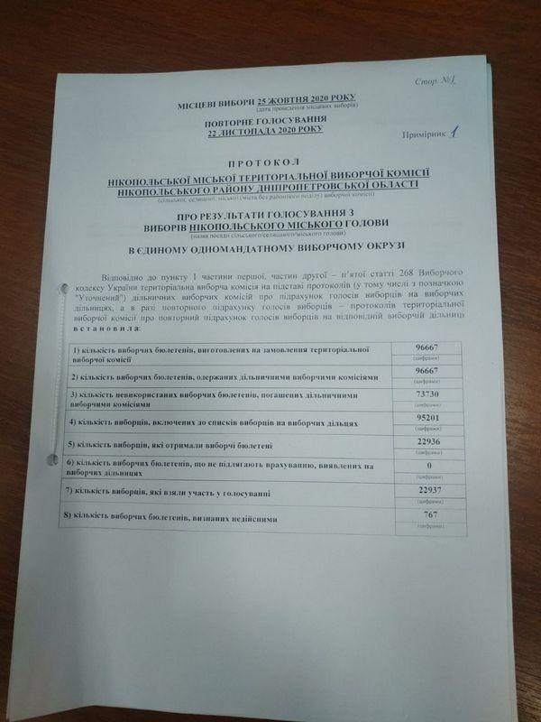 Озвучены официальные результаты выборов на пост мэра Никополя, фото-3