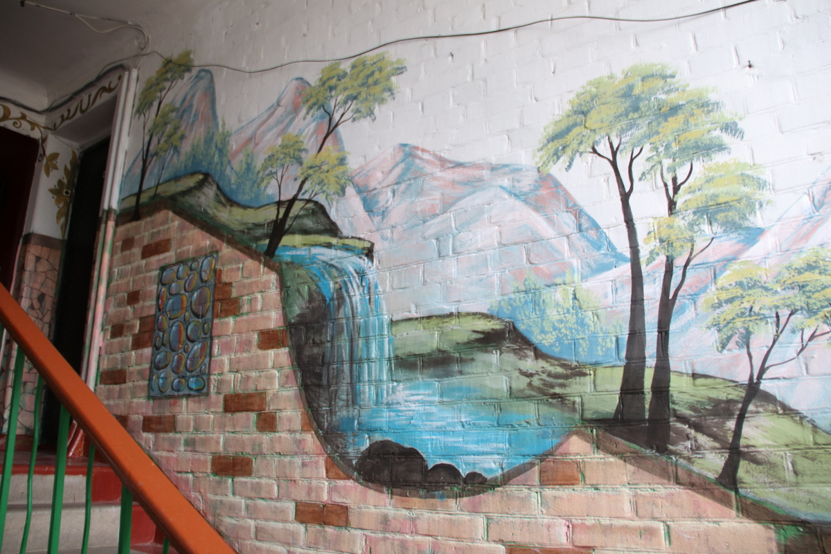 Водопады и горы украшают подъезд