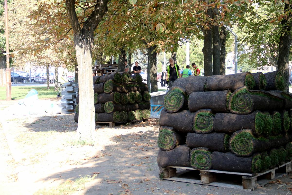 В Никополе на аллеи по улице Каштановой начали стелить рулонный газон